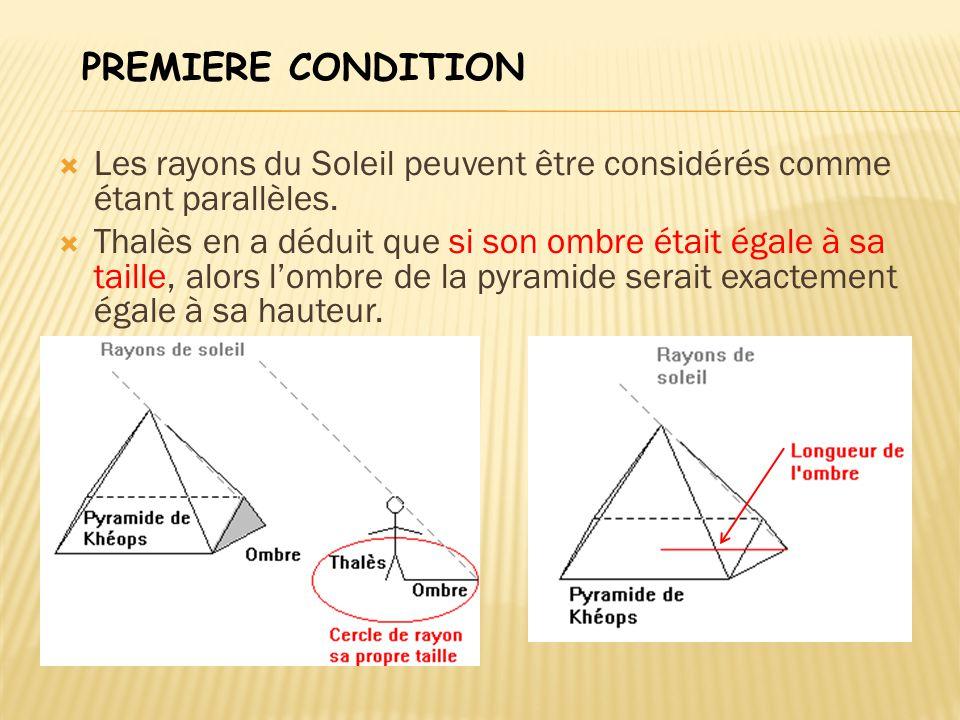 PREMIERE CONDITION Les rayons du Soleil peuvent être considérés comme étant parallèles.