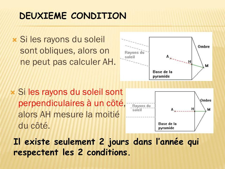 DEUXIEME CONDITION Si les rayons du soleil sont obliques, alors on ne peut pas calculer AH.