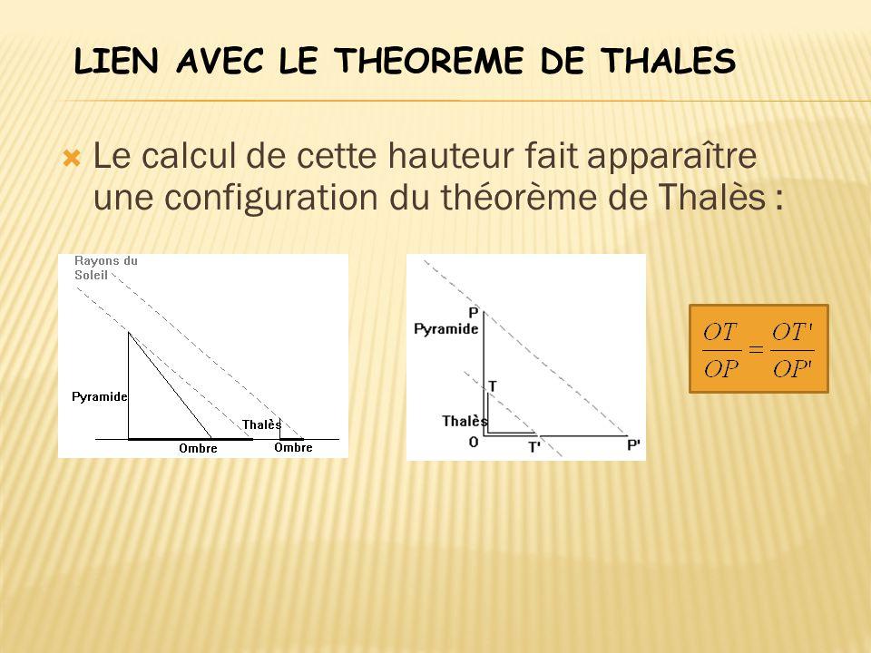 LIEN AVEC LE THEOREME DE THALES