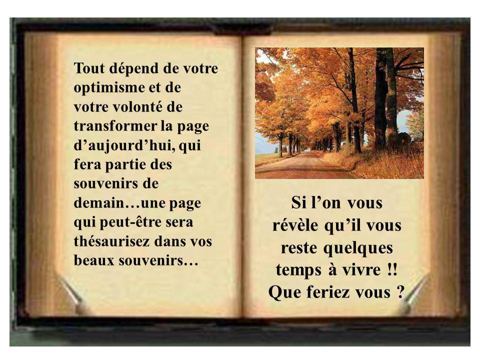 Tout dépend de votre optimisme et de votre volonté de transformer la page d'aujourd'hui, qui fera partie des souvenirs de demain…une page qui peut-être sera thésaurisez dans vos beaux souvenirs…