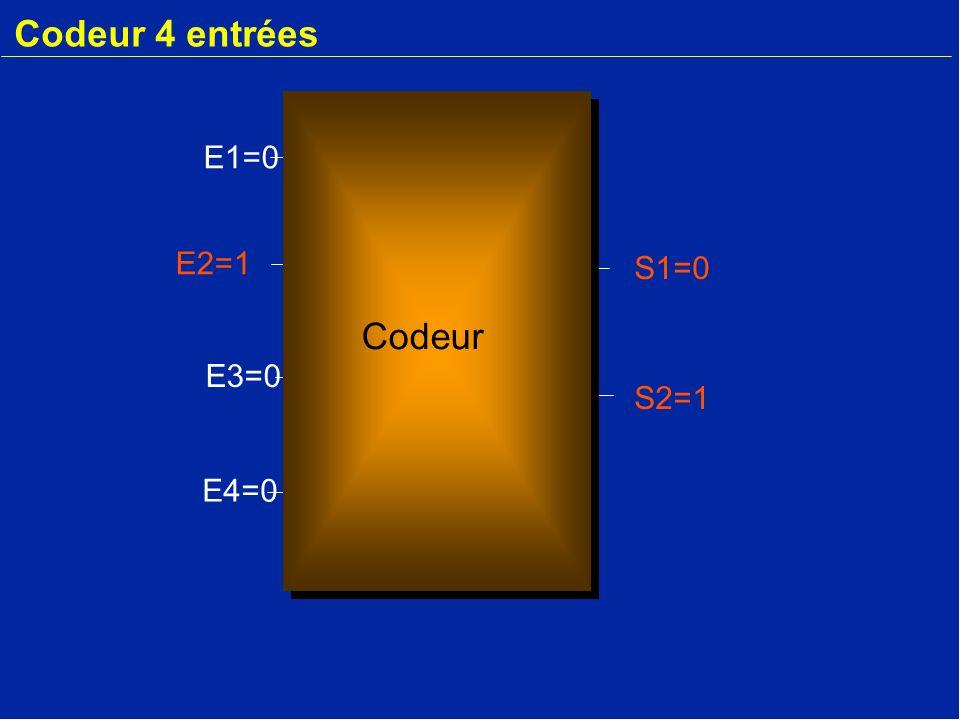 Codeur 4 entrées E1=0 E2=1 S1=0 Codeur E3=0 S2=1 E4=0