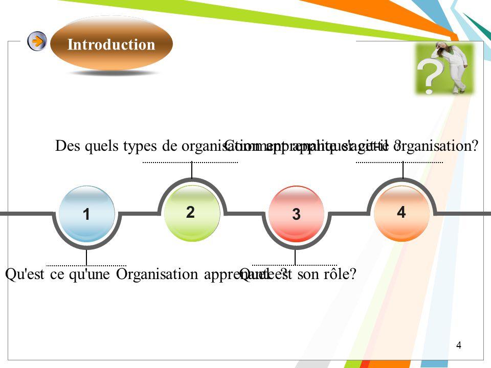 Introduction Des quels types de organisation apprenante s agit-il Comment appliquer cette organisation