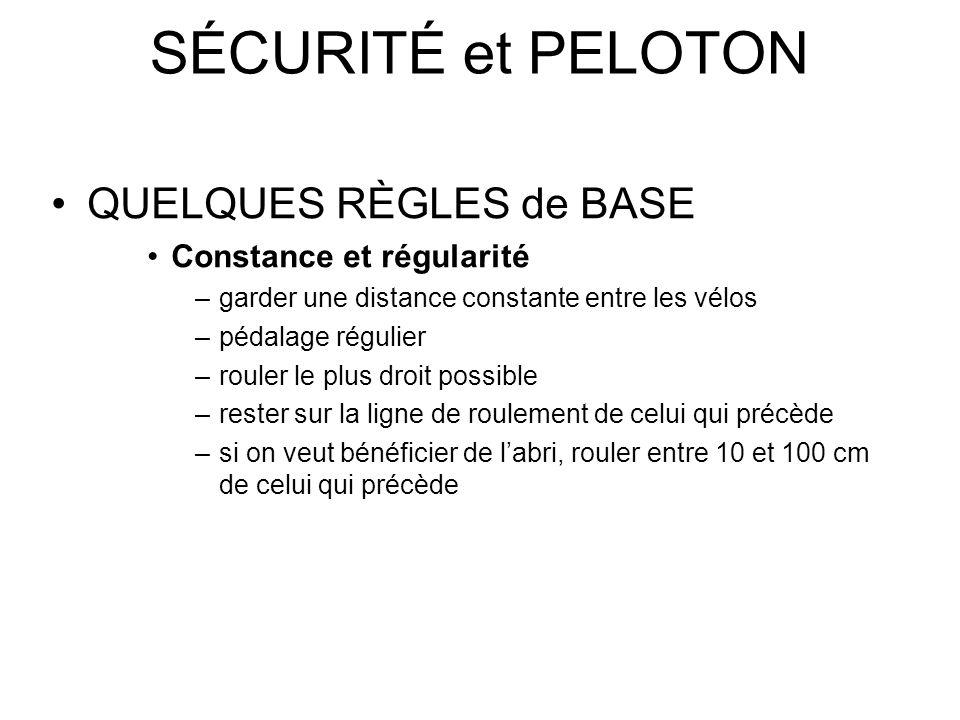 SÉCURITÉ et PELOTON QUELQUES RÈGLES de BASE Constance et régularité