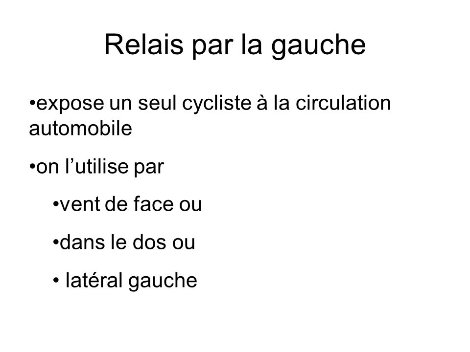 Relais par la gauche expose un seul cycliste à la circulation automobile. on l'utilise par. vent de face ou.
