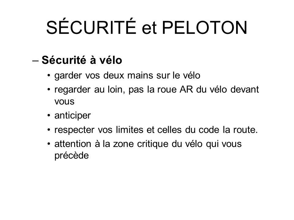 SÉCURITÉ et PELOTON Sécurité à vélo garder vos deux mains sur le vélo
