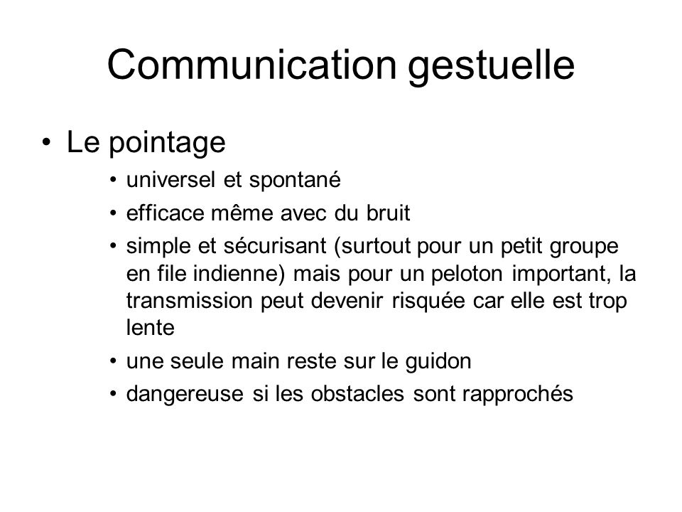 Communication gestuelle
