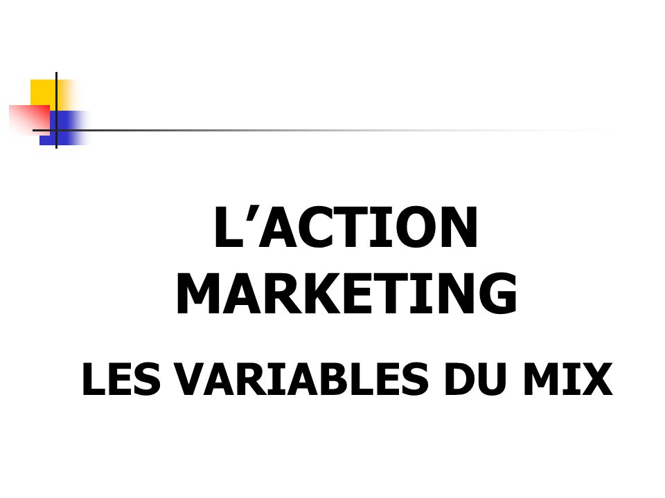 L'ACTION MARKETING LES VARIABLES DU MIX