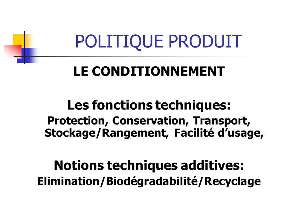 POLITIQUE PRODUIT LE CONDITIONNEMENT Les fonctions techniques: