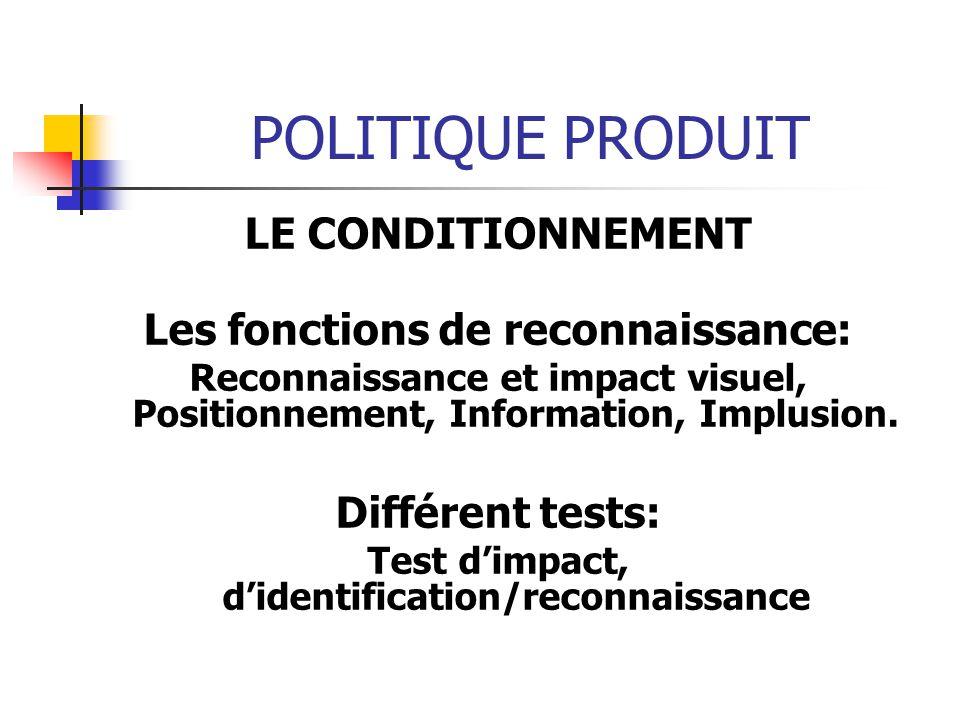 POLITIQUE PRODUIT LE CONDITIONNEMENT Les fonctions de reconnaissance: