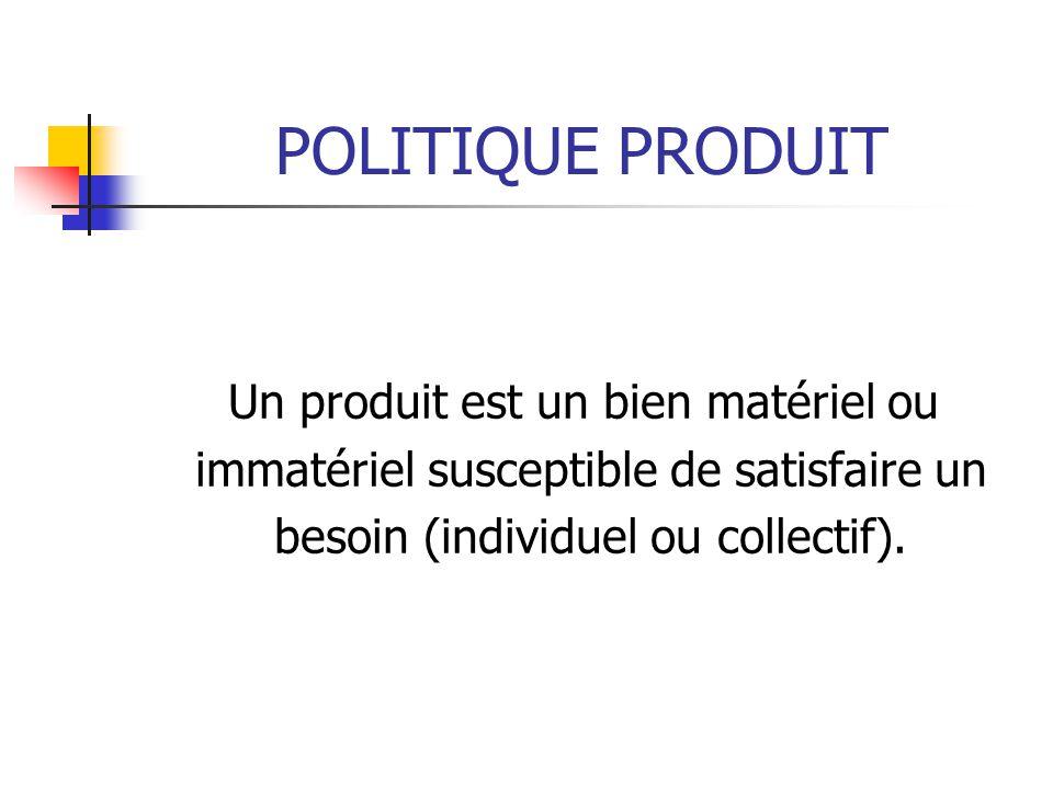POLITIQUE PRODUIT Un produit est un bien matériel ou