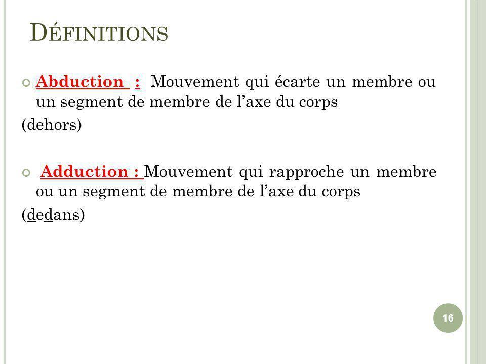 Définitions Abduction : Mouvement qui écarte un membre ou un segment de membre de l'axe du corps