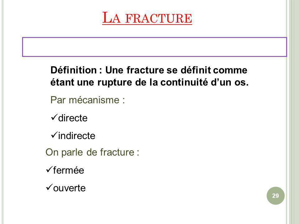 La fracture Définition : Une fracture se définit comme étant une rupture de la continuité d'un os. Par mécanisme :