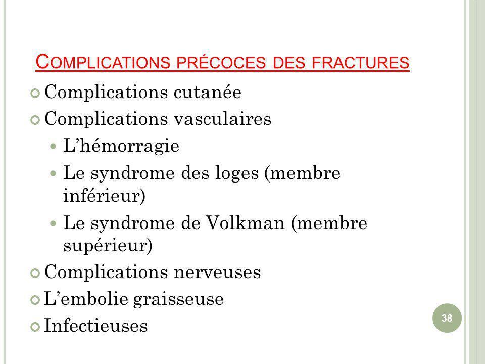 Complications précoces des fractures