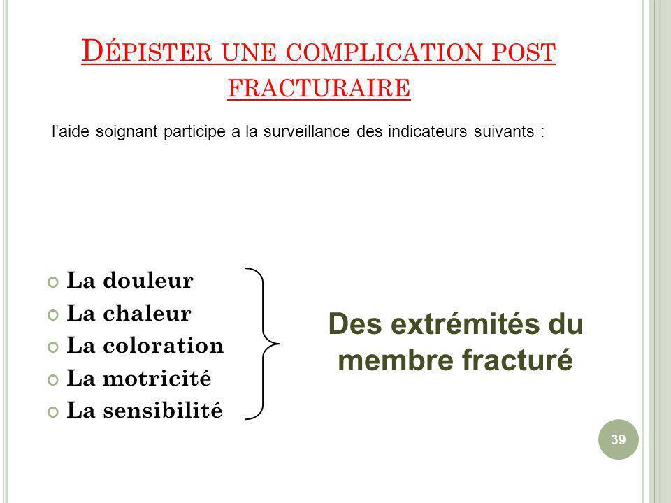 Dépister une complication post fracturaire