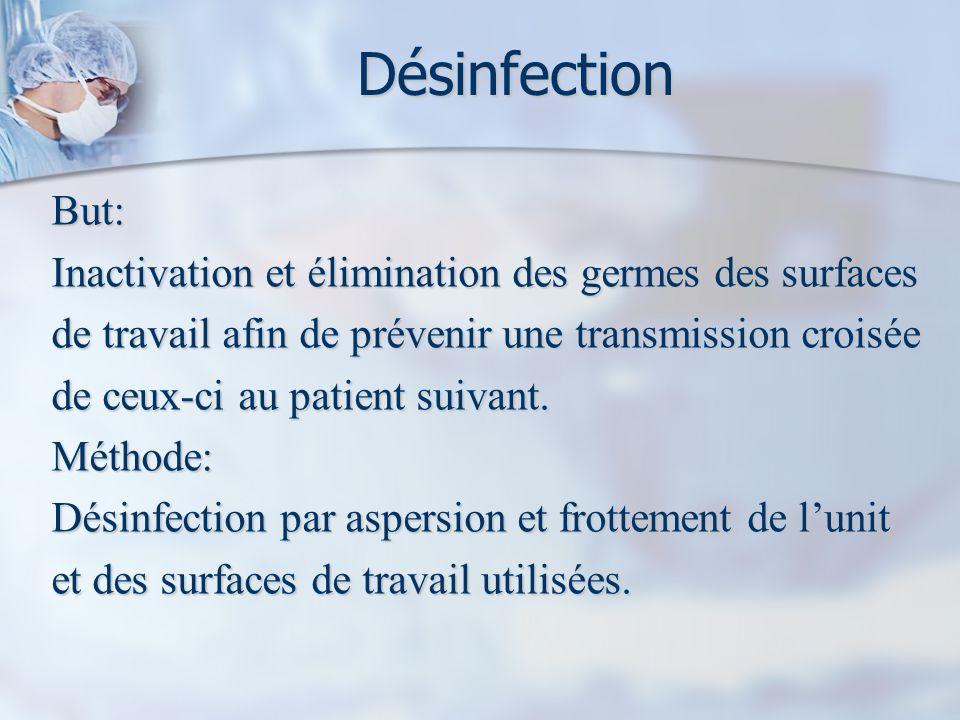 Désinfection But: Inactivation et élimination des germes des surfaces