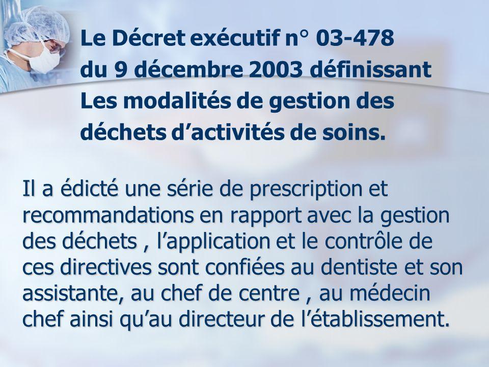 du 9 décembre 2003 définissant Les modalités de gestion des