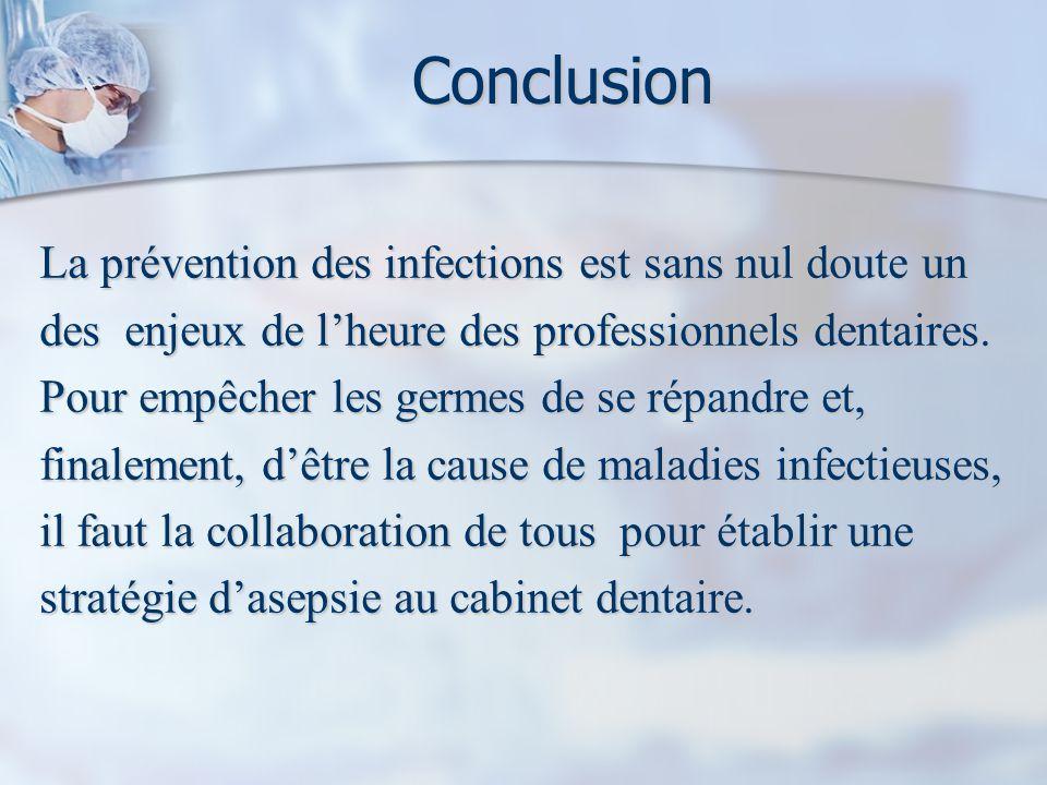 Conclusion La prévention des infections est sans nul doute un