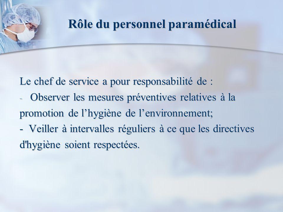 Rôle du personnel paramédical