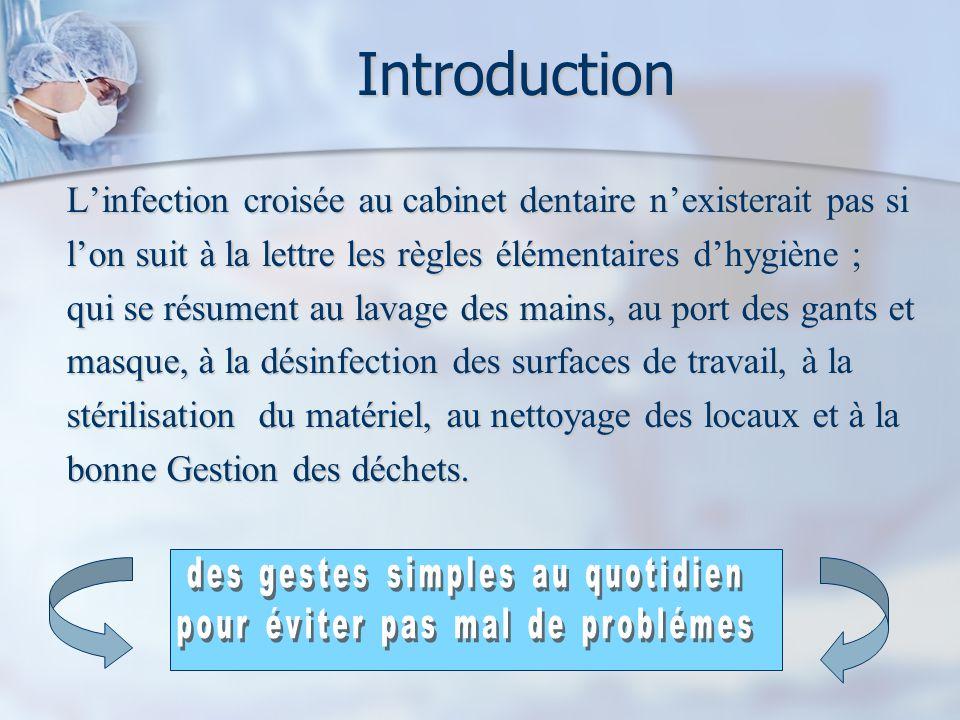Introduction L'infection croisée au cabinet dentaire n'existerait pas si. l'on suit à la lettre les règles élémentaires d'hygiène ;
