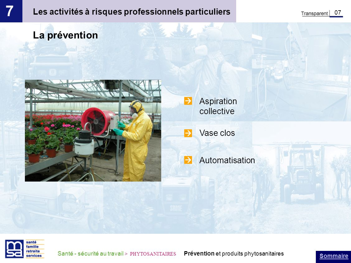 7 La prévention Les activités à risques professionnels particuliers