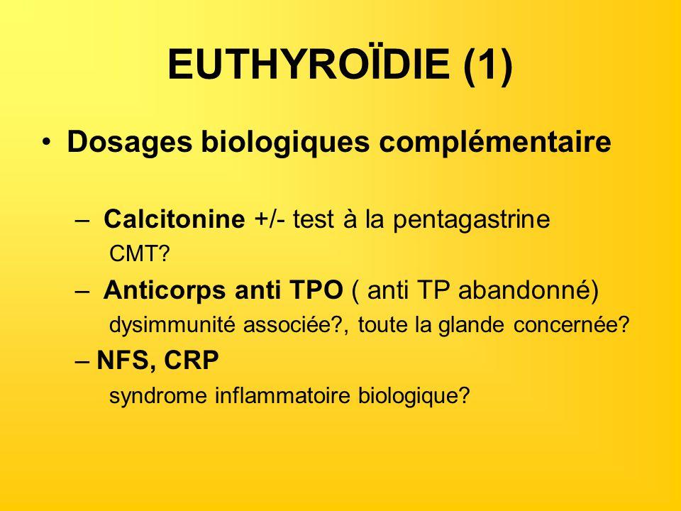 EUTHYROÏDIE (1) Dosages biologiques complémentaire