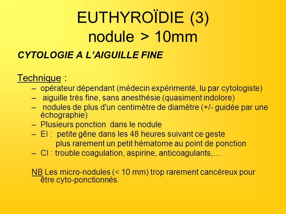EUTHYROÏDIE (3) nodule > 10mm