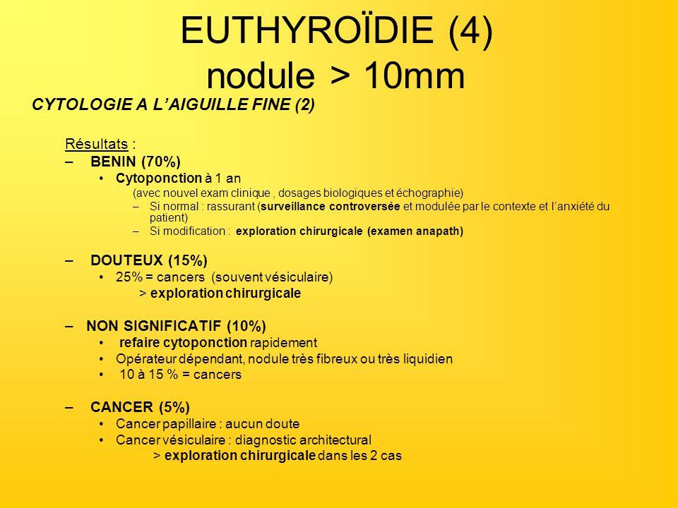 EUTHYROÏDIE (4) nodule > 10mm