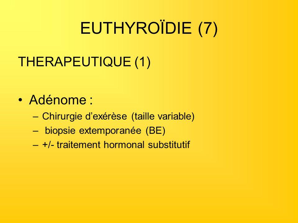 EUTHYROÏDIE (7) THERAPEUTIQUE (1) Adénome :