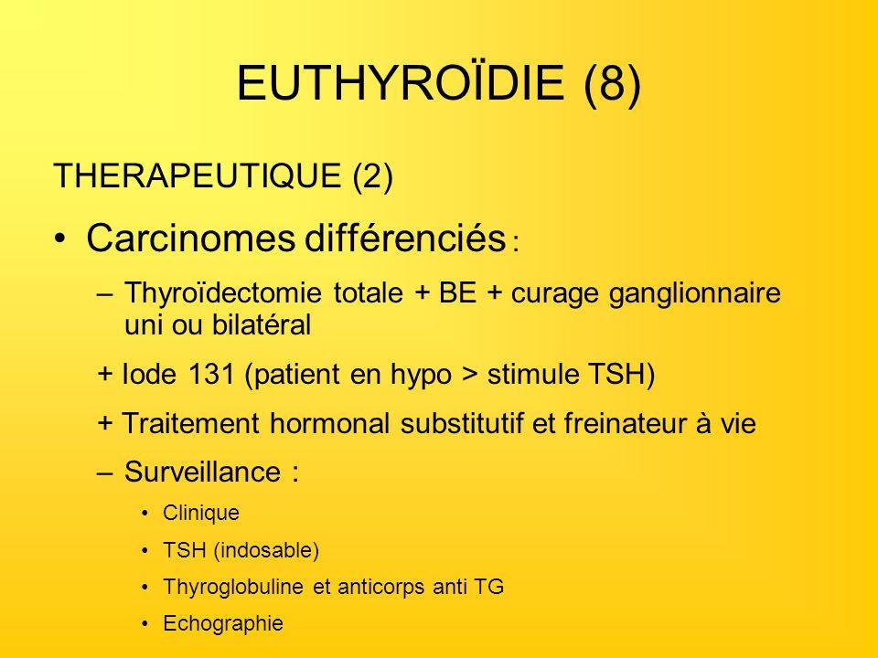 EUTHYROÏDIE (8) Carcinomes différenciés : THERAPEUTIQUE (2)