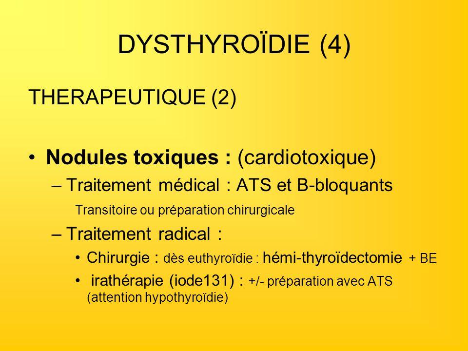 DYSTHYROÏDIE (4) THERAPEUTIQUE (2) Nodules toxiques : (cardiotoxique)