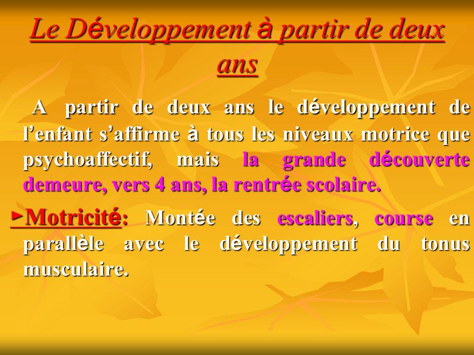 Le Développement à partir de deux ans