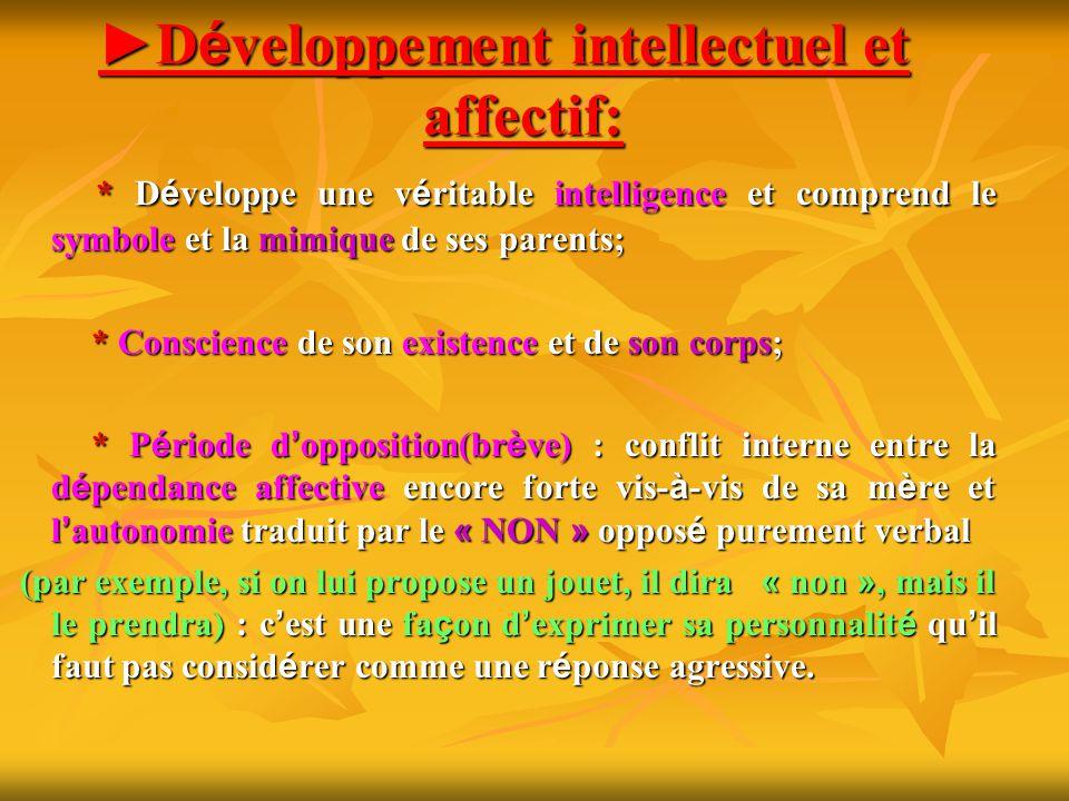 ►Développement intellectuel et affectif: