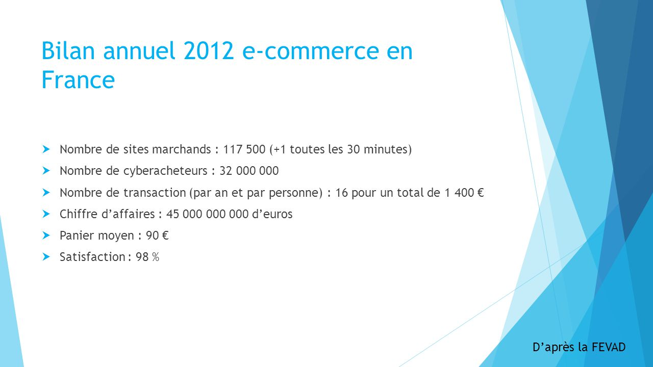 Bilan annuel 2012 e-commerce en France