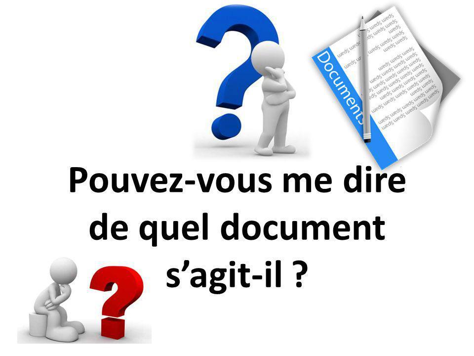 Pouvez-vous me dire de quel document s'agit-il