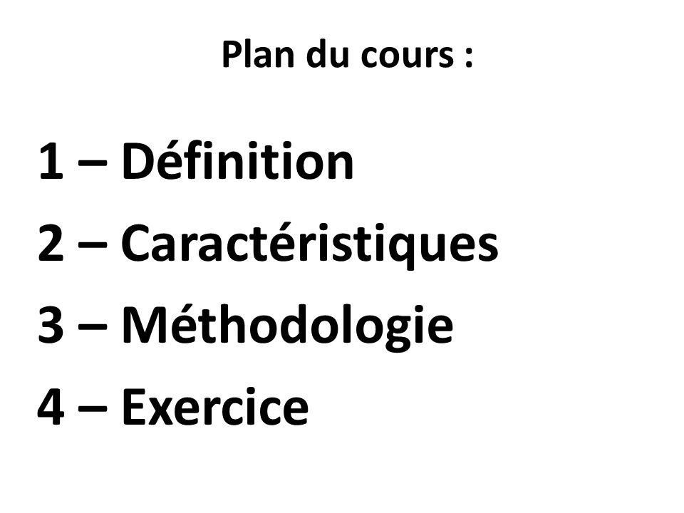 1 – Définition 2 – Caractéristiques 3 – Méthodologie 4 – Exercice