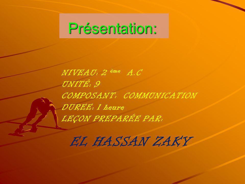 Présentation: EL HASSAN ZAKY NIVEAU: 2 ème A.C UNITÉ: 9