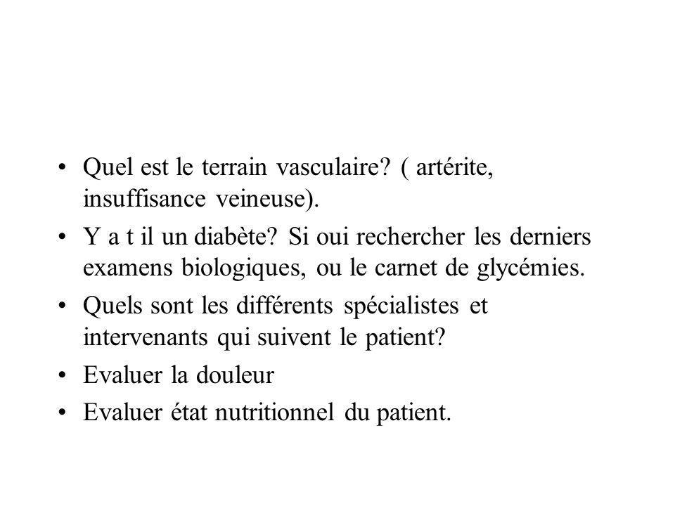 Quel est le terrain vasculaire ( artérite, insuffisance veineuse).