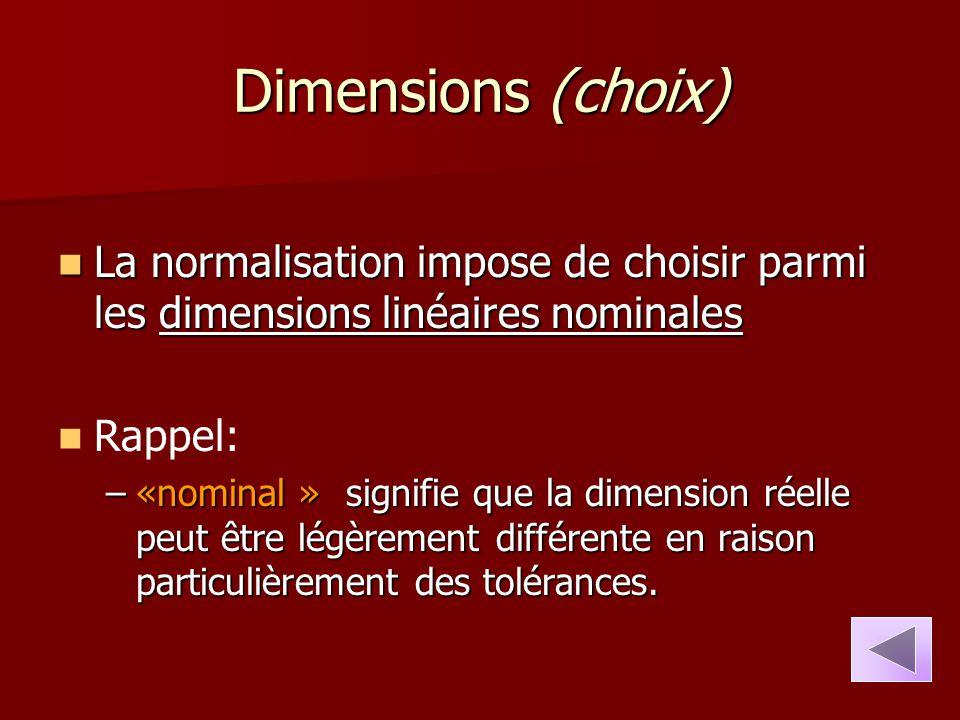 Dimensions (choix) La normalisation impose de choisir parmi les dimensions linéaires nominales. Rappel: