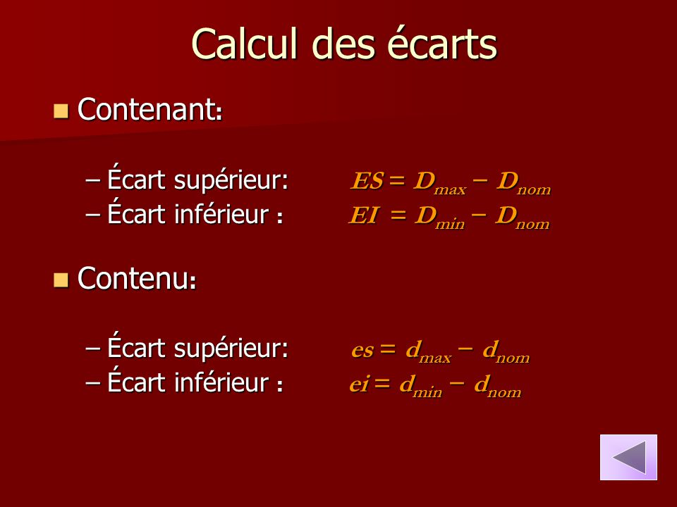 Calcul des écarts Contenant: Contenu: