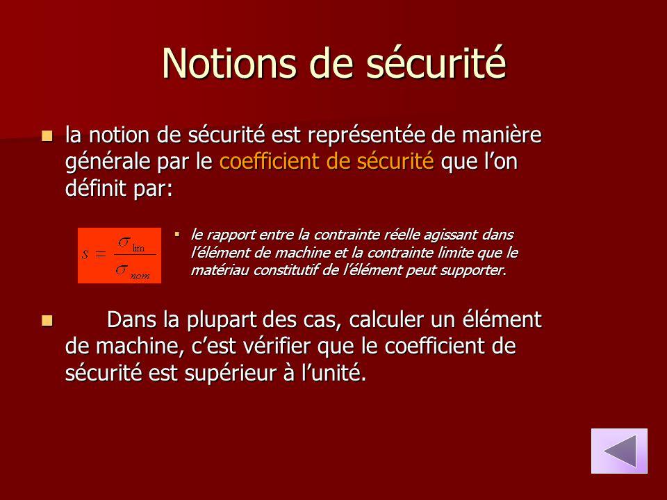 Notions de sécurité la notion de sécurité est représentée de manière générale par le coefficient de sécurité que l'on définit par: