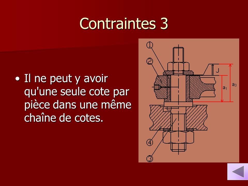 Contraintes 3 Il ne peut y avoir qu une seule cote par pièce dans une même chaîne de cotes.