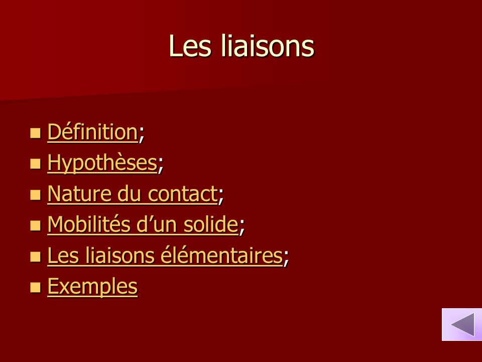 Les liaisons Définition; Hypothèses; Nature du contact;