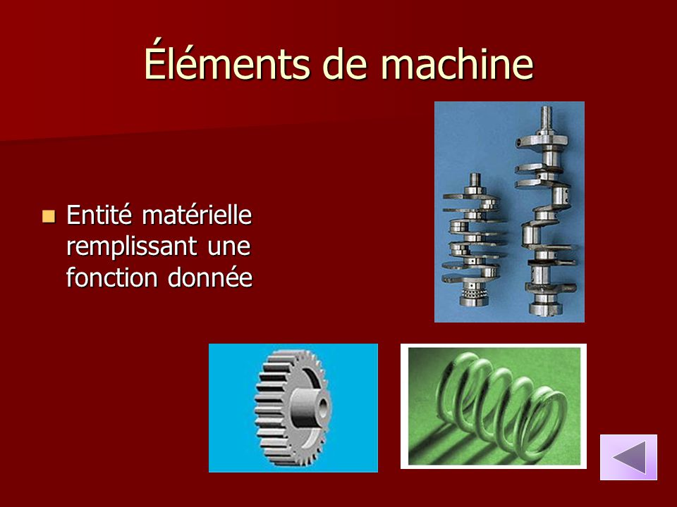 Éléments de machine Entité matérielle remplissant une fonction donnée