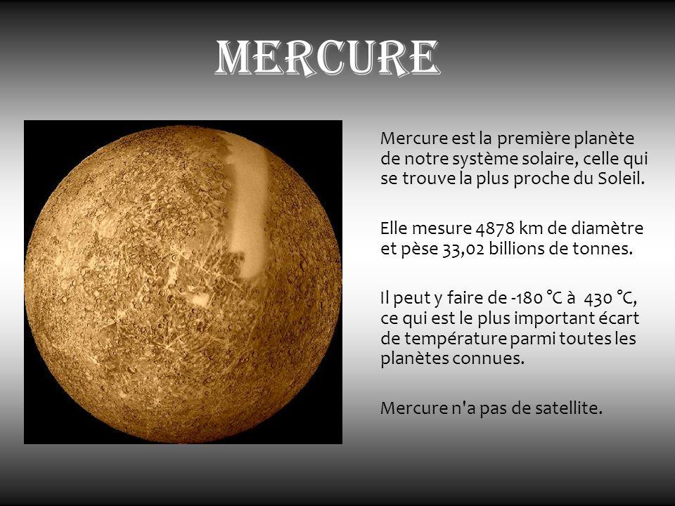 mercure Mercure est la première planète de notre système solaire, celle qui se trouve la plus proche du Soleil.