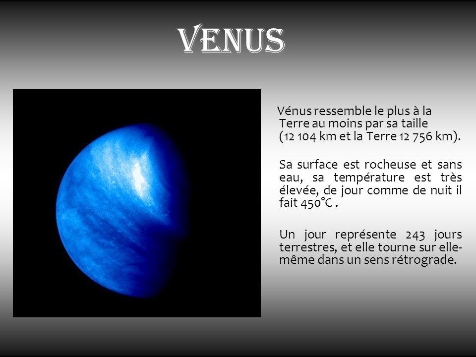 venus Vénus ressemble le plus à la Terre au moins par sa taille (12 104 km et la Terre 12 756 km).