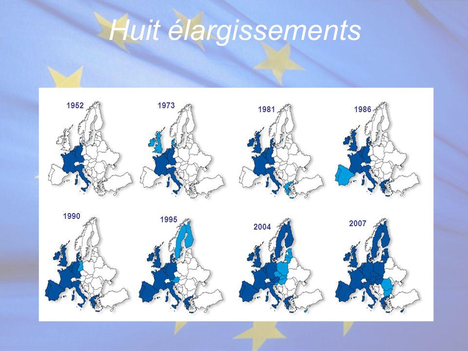Huit élargissements 1952 1973 1981 1986 1990 1995 2007 2004