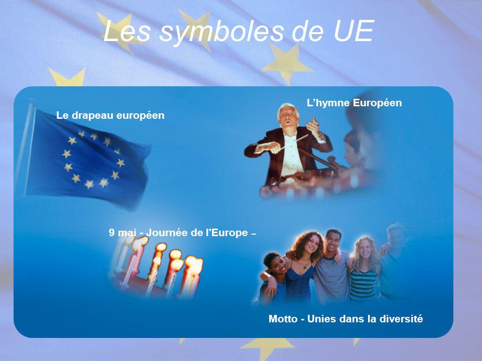 Les symboles de UE L'hymne Européen Le drapeau européen