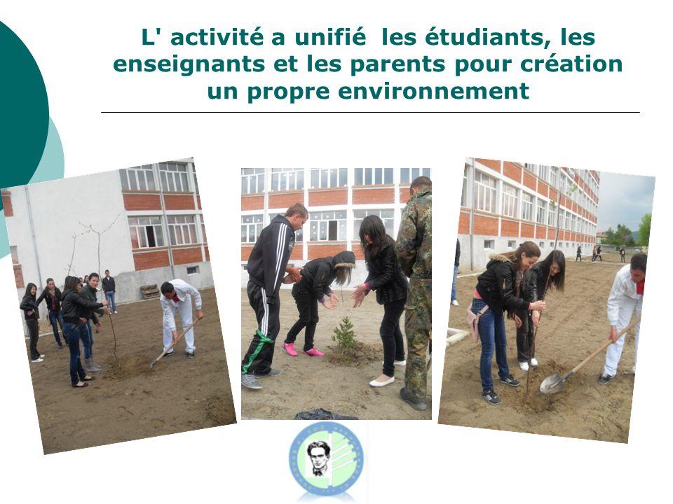 L activité a unifié les étudiants, les enseignants et les parents pour création un propre environnement