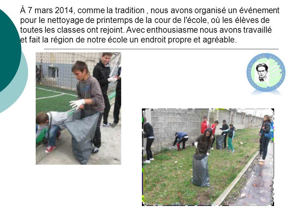 À 7 mars 2014, comme la tradition , nous avons organisé un événement pour le nettoyage de printemps de la cour de l école, où les élèves de toutes les classes ont rejoint.