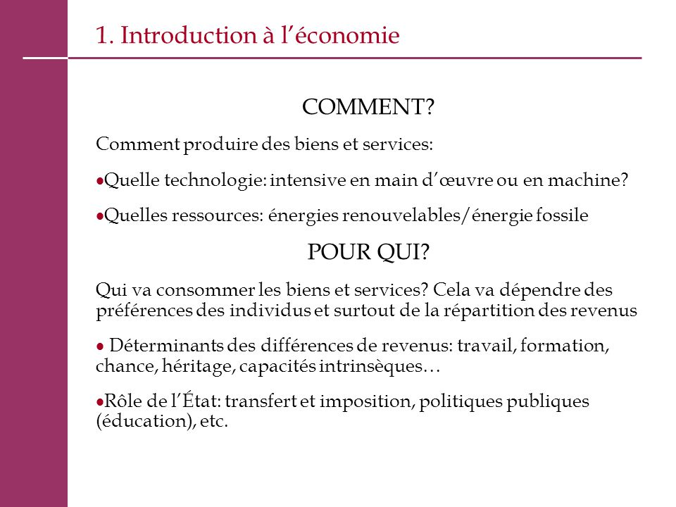 1. Introduction à l'économie